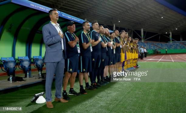 Trevor Morgan, head coach of Australia looks on before the FIFA U-17 World Cup Brazil 2019 Group B match between Australia and Hungary at Estadio...