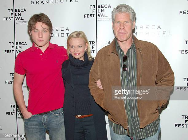 Trevor Morgan Samantha Mathis and Ron Perlman during 5th Annual Tribeca Film Festival Land Of The Blind Premiere Inside Arrivals at Tribeca Grand...