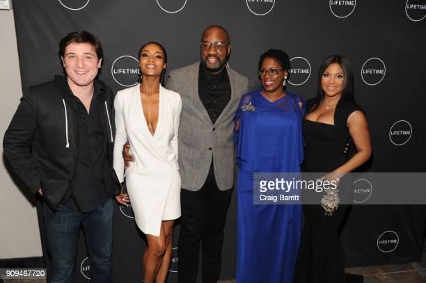 "Trevor Morgan, Yaya Dacosta, Malik Yoba, Antoinette Tuff and Toni Braxton attend Lifetime""s Film,""Faith Under Fire: The Antoinette Tuff Story"" red..."
