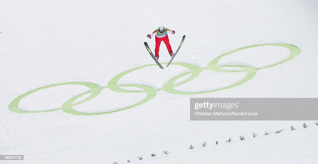 Trevor Morrice of Canada competes during the Ski Jumping Normal Hill Individual Qualification Round at the Olympic Winter Games Vancouver 2010 ski jumping on February 12, 2010 in Whistler, Canada.