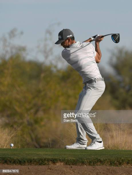Trevor Murphy plays a tee shot on the second hole during the final round of the Webcom Tour Qualifying Tournament at Whirlwind Golf Club on the...