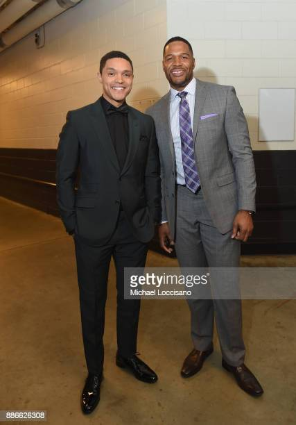 Trevor Noah and Michael Strahan attend SPORTS ILLUSTRATED 2017 Sportsperson of the Year Show on December 5 2017 at Barclays Center in New York City...