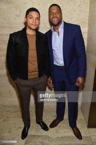 Trevor Noah and Michael Strahan attend The Hollywood Reporter's 9th Annual Most Powerful People In Mediaat The Pool on April 11 2019 in New York City