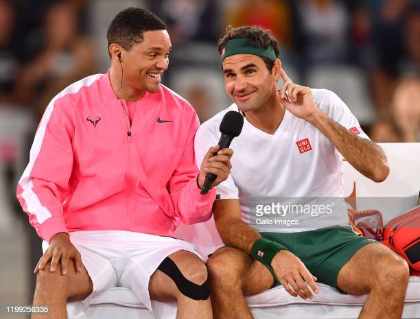 Trevor Noah and Rafael Nadal of Spain during the Match in Africa between Roger Federer and Rafael Nadal at Cape Town Stadium on February 07 2020 in...