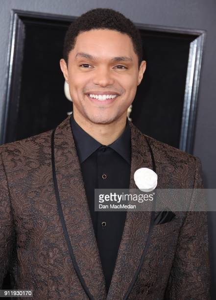 Trevor Noah arrives at the 60th Annual GRAMMY Awards at Madison Square Garden on January 28 2018 in New York City