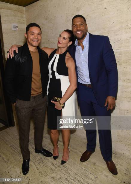 Trevor Noah Brooke Shields and Michael Strahan attend The Hollywood Reporter's 9th Annual Most Powerful People In Mediaat The Pool on April 11 2019...