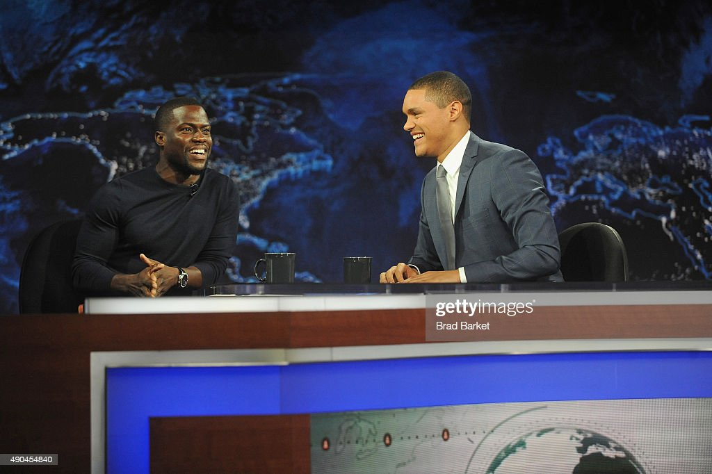 Trevor Noah hosts Comedy Central's 'The Daily Show with Trevor Noah' premiere with guest Kevin Hart on September 28, 2015 in New York City.