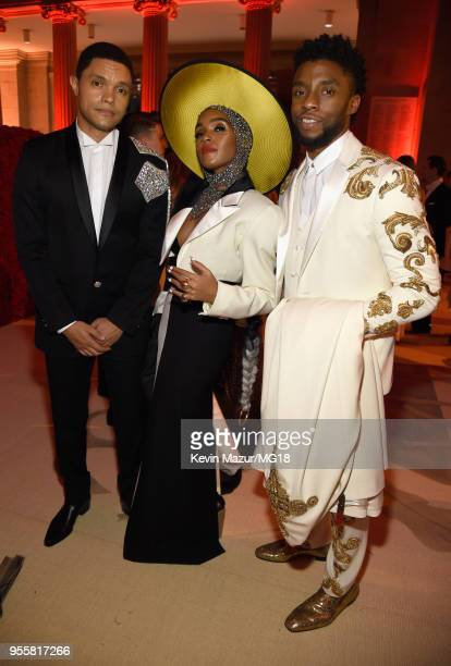 Trevor Noah Janelle Monae and Chadwick Boseman attend the Heavenly Bodies Fashion The Catholic Imagination Costume Institute Gala at The Metropolitan...