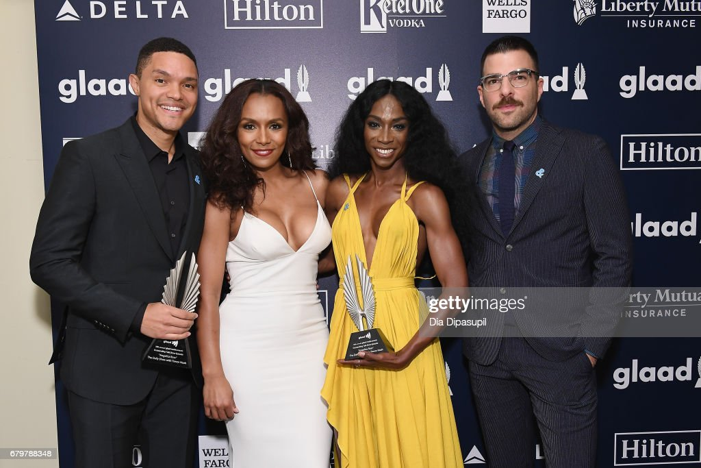 Trevor Noah, Janet Mock, Angelica Ross and Zachary Quinto attend the 28th Annual GLAAD Media Awards at The Hilton Midtown on May 6, 2017 in New York City.