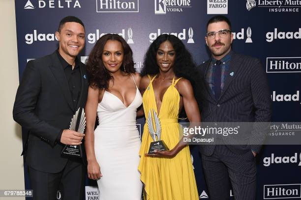 Trevor Noah Janet Mock Angelica Ross and Zachary Quinto attend the 28th Annual GLAAD Media Awards at The Hilton Midtown on May 6 2017 in New York City
