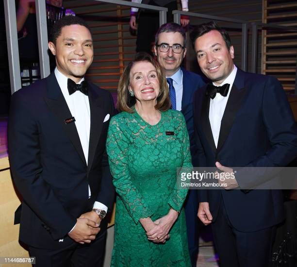 Trevor Noah Nancy Pelosi John Oliver and Jimmy Fallon attend the TIME 100 Gala 2019 Dinner at Jazz at Lincoln Center on April 23 2019 in New York City