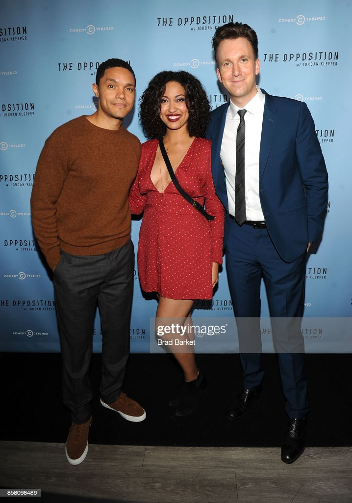 Trevor Noah, Niccole Thurman and Jordan Klepper attend Comedy Central's 'The Opposition W/ Jordan Klepper' premiere party at The Skylark on October 5, 2017 in New York City.