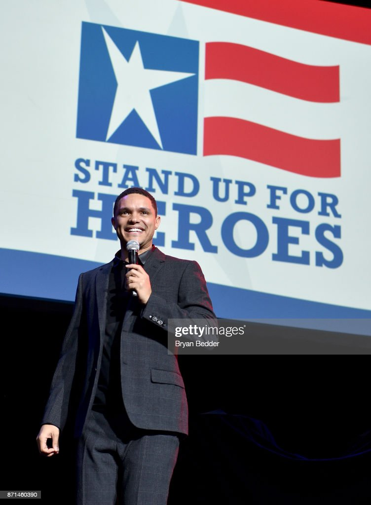 Trevor Noah speaks onstage during the 11th Annual Stand Up for Heroes Event presented by The New York Comedy Festival and The Bob Woodruff Foundation at The Theater at Madison Square Garden on November 7, 2017 in New York City.