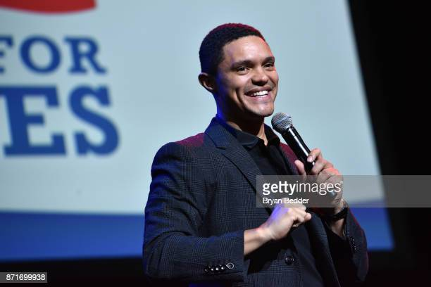 Trevor Noah speaks onstage during the 11th Annual Stand Up for Heroes Event presented by The New York Comedy Festival and The Bob Woodruff Foundation...
