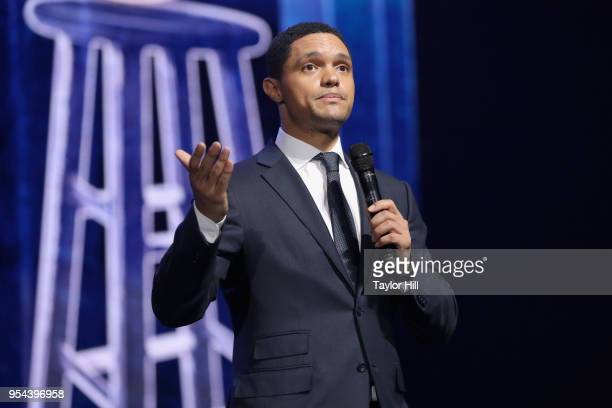 Trevor Noah speaks onstage during the YouTube Brandcast 2018 presentation at Radio City Music Hall on May 3 2018 in New York City