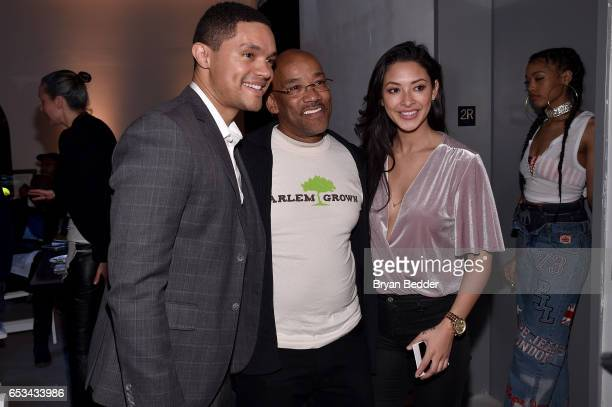 Trevor Noah Tony Hillary and Jordyn Taylor attend Experience Harlem hosted by Airbnb and Ghetto Gastro on March 14 2017 in New York City