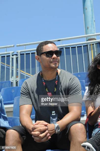 Trevor Noah watches the race as GH Mumm Champagne celebrates Formula E with Mumm Grand Cordon at the inaugural ePrix Race on July 16 2017 in the...
