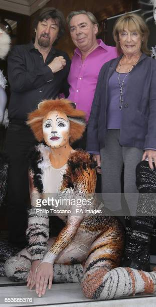 Trevor Nunn Andrew Lloyd Webber and Gillian Lynne with a performer from the musical Cats during a photocall outside the London Palladium in central...
