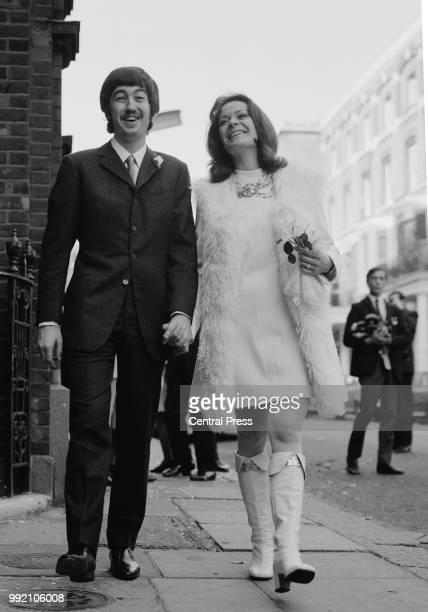 Trevor Nunn Director of the Royal Shakespeare Company with actress Janet Suzman after their wedding at Kensington Register Office in London 17th...