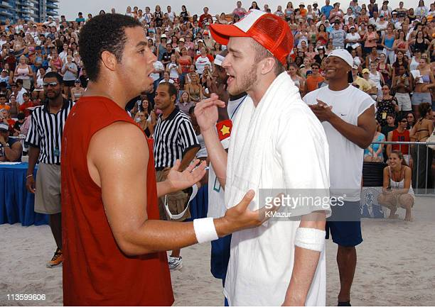 Trevor Penick and Justin Timberlake during *NSYNC's Challenge for the Children V Celebrity Skills Challenge at Collins Park in Miami Beach Florida...