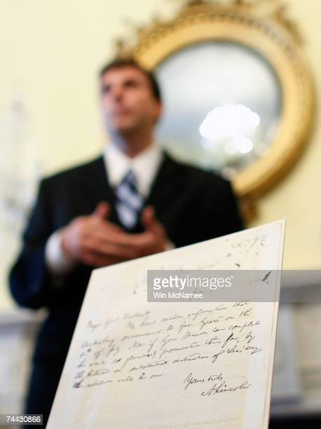 Trevor Plante a specialist in Civil War records at the National Archives announces his discovery of letter written by Abraham Lincoln June 7 2007 in...