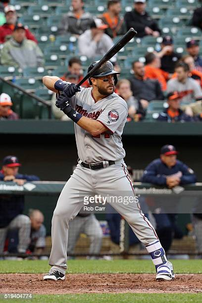 Trevor Plouffe of the Minnesota Twins bats against the Baltimore Orioles at Oriole Park at Camden Yards on April 4 2016 in Baltimore Maryland
