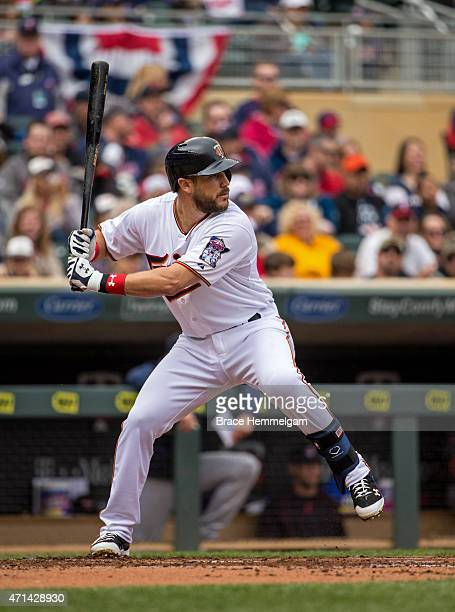 Trevor Plouffe of the Minnesota Twins bats against the Cleveland Indians on April 19 2015 at Target Field in Minneapolis Minnesota The Twins defeated...