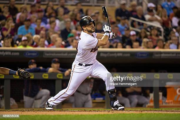 Trevor Plouffe of the Minnesota Twins bats against the Detroit Tigers on September 14 2015 at Target Field in Minneapolis Minnesota The Twins...