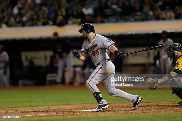 Trevor Plouffe of the Minnesota Twins bats during the game against the Oakland Athletics at Oco Coliseum on July 17 2015 in Oakland California The...