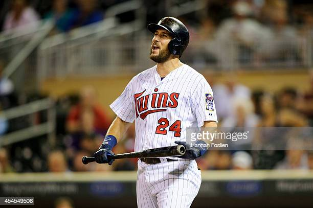 Trevor Plouffe of the Minnesota Twins reacts during an at bat against the Chicago White Sox in the game on September 2 2014 at Target Field in...