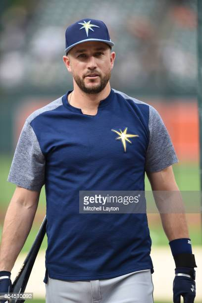 Trevor Plouffe of the Tampa Bay Rays looks on during batting practice of a baseball game against the Baltimore Orioles at Oriole Park at Camden Yards...