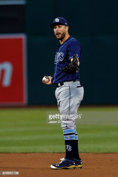 Trevor Plouffe of the Tampa Bay Rays stands on the field during the fourth inning against the Oakland Athletics at the Oakland Coliseum on July 17...