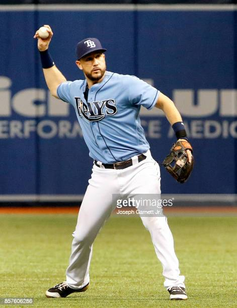 Trevor Plouffe of the Tampa Bay Rays throws the ball to first base during the game against the Baltimore Orioles at Tropicana Field on October 1 2017...