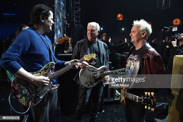 Trevor Rabin of Yes Alex Lifeson of Rush and Jeff Ament of Pearl Jam attend 32nd Annual Rock Roll Hall Of Fame Induction Ceremony at Barclays Center...