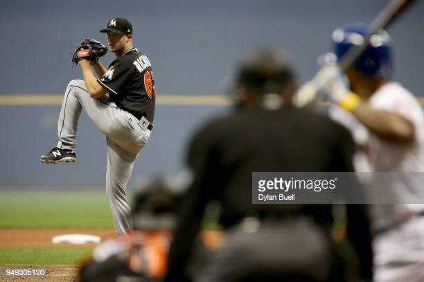 Trevor Richards of the Miami Marlins pitches in the fourth inning against the Milwaukee Brewers at Miller Park on April 20 2018 in Milwaukee Wisconsin