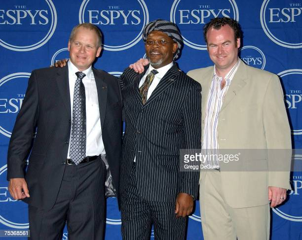 Trevor Ringland and Dave Cullen winners of the Arthur Ashe Courage Award pose with actor Samuel L Jackson in the press room during the 2007 ESPY...