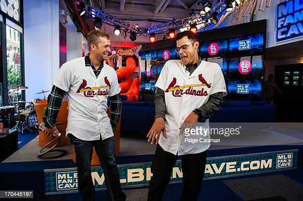 Trevor Rosenthal and Joe Kelly of the St Louis Cardinals joke with one another at the MLB Fan Cave Wednesday June 12 at Broadway and 4th Street in...