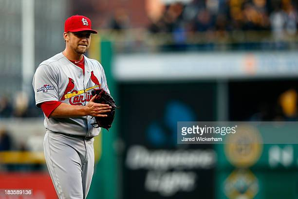 Trevor Rosenthal of the St Louis Cardinals celebrates defeating the Pittsburgh Pirates in Game Four of the National League Division Series at PNC...