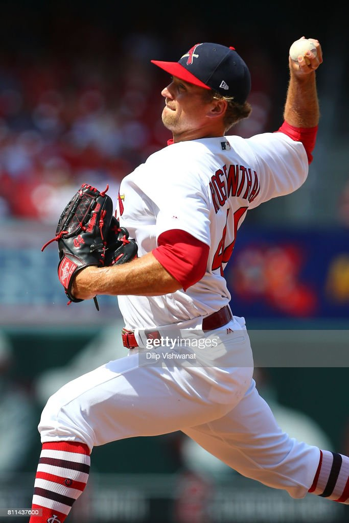 Trevor Rosenthal #44 of the St. Louis Cardinals delivers a pitch against the New York Mets in the eighth inning at Busch Stadium on July 9, 2017 in St. Louis, Missouri.