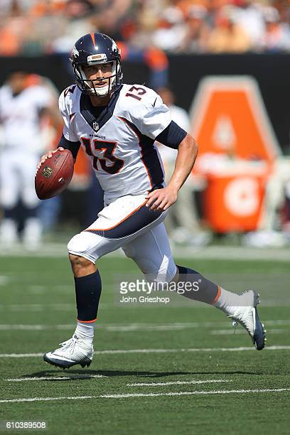 Trevor Siemian of the Denver Broncos looks to throw the ball during the first quarter of the game against the Cincinnati Bengals at Paul Brown...