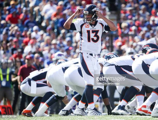 Trevor Siemian of the Denver Broncos makes a signal during an NFL game against the Buffalo Bills on September 24 2017 at New Era Field in Orchard...