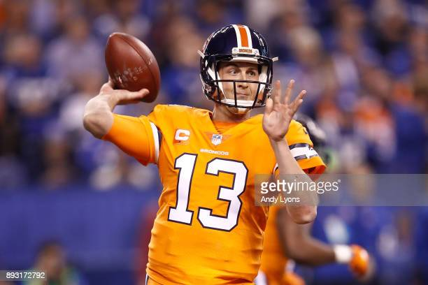 Trevor Siemian of the Denver Broncos throws a pass against the Indianapolis Colts during the first half at Lucas Oil Stadium on December 14 2017 in...