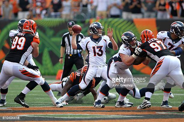 Trevor Siemian of the Denver Broncos throws a pass during the fourth quarter of the game against the Cincinnati Bengals at Paul Brown Stadium on...