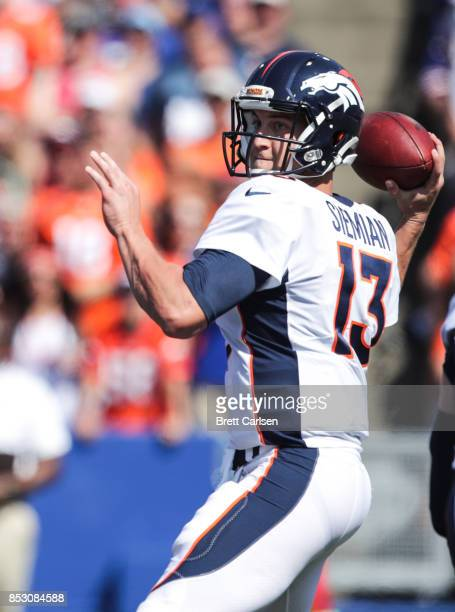Trevor Siemian of the Denver Broncos throws the ball during an NFL game against the Buffalo Bills on September 24 2017 at New Era Field in Orchard...
