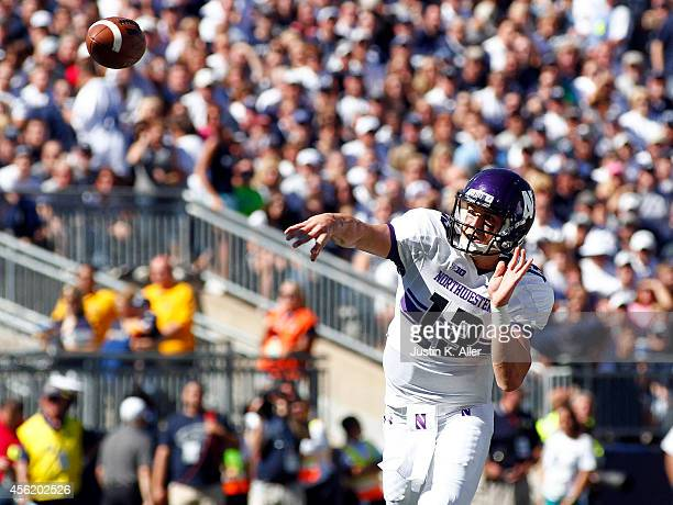 Trevor Siemian of the Northwestern Wildcats drops back to pass in the first half against the Penn State Nittany Lions during the game on September 27...