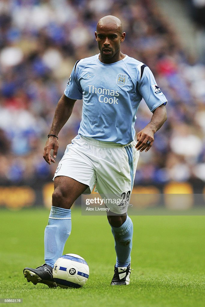 Trevor Sinclair of Manchester City during the Barclays Premiership match between Manchester City and Portsmouth at the City of Manchester Stadium on August 27, 2005 in Manchester, England.