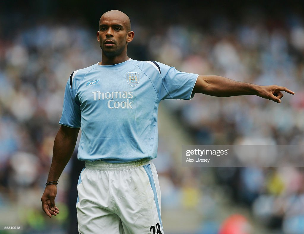 Trevor Sinclair of Manchester City in action during the Barclays Premiership match between Manchester City and Portsmouth at the City of Manchester Stadium on August 27, 2005 in Manchester, England.