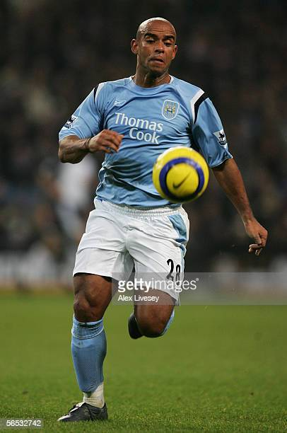 Trevor Sinclair of Manchester City in action during the Barclays Premiership match between Manchester City and Tottenham Hotspur at the City of...