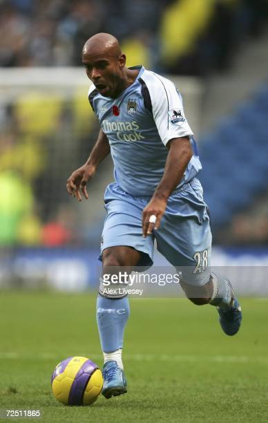 Trevor Sinclair of Manchester City in action during the Barclays Premiership match between Manchester City and Newcastle United at The City of...