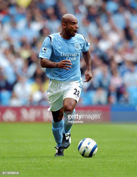 Trevor Sinclair of Manchester City in action during the Barclays Premiership match between Manchester City and Portsmouth at the City of Manchester...